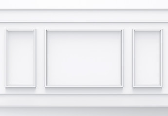 3d rendering. luxury white retro style wall background