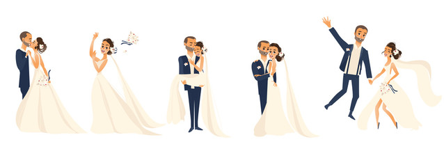 Wedding couple set, bride and groom, hugging, kissing, celebrating, cartoon vector illustration isolated on white background. Wedding couple, hugging and kissing, throwing flowers, being happy