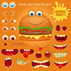 Creation kit of emoticon cartoon burger character