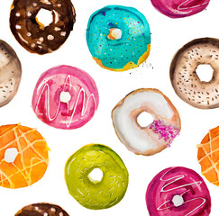 Hand-painted watercolor donuts pattern