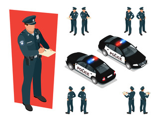 Isometric police-officer in uniform and police car. Vector illustration Isolated on white background. Police officer emergency service car driving street
