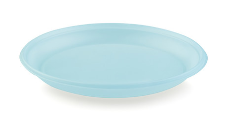 Plastic disposable plate isolated