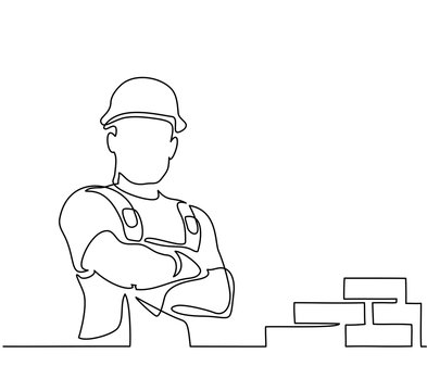 Continuous line drawing. Standing builder man near brick wall. Vector illustration on white background