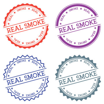 Real smoke badge isolated on white background. Flat style round label with text. Circular emblem vector illustration.