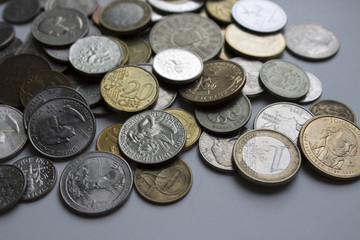 Beautiful image of different coins. Can be used as a greeting card