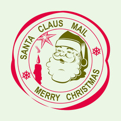 stamp with the silhouette of Santa Claus