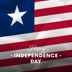 Banner or poster of Liberia independence day celebration. Waving flag. Vector illustration.