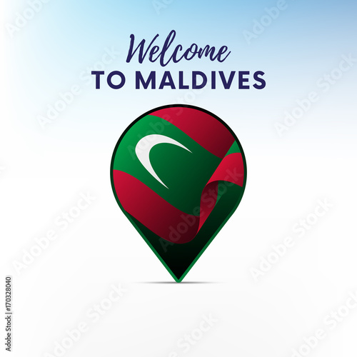 Flag of Maldives in shape of map pointer or marker. Welcome to ...