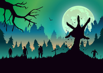 Silhouette Zombie arm reaching out from ground in a full moon night. Ideal for nightclub poster green theme.