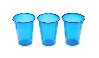 Blue, plastic cups isolated on white background