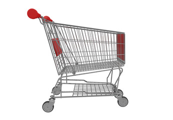 3d rendering. empty Red lebal metal shopping cart isolated on white bakcground