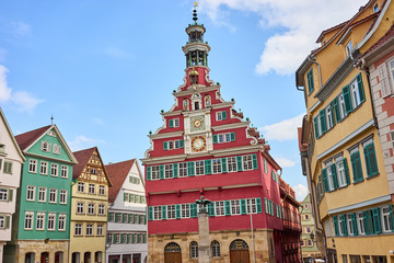 Old Town Hall of Esslingen in Germany / Red facade of medieval building