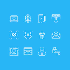 Vector Illustration Of 12 Privacy Icons. Editable Pack Of Encoder, System Security, Easy Payment And Other Elements.