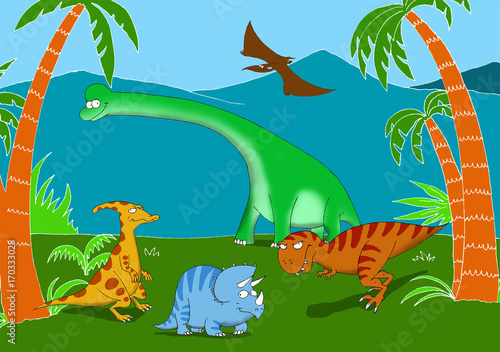 Friendly and smiling dinosaurs in a prehistoric landscape