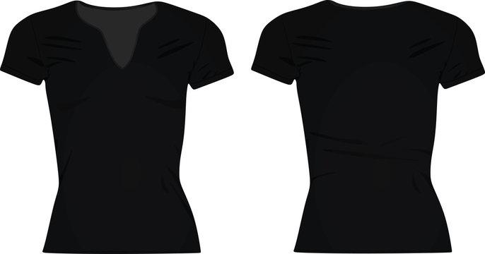 Women black  v neck t shirt. vector illustration