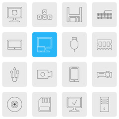 Vector Illustration Of 16 Laptop Icons. Editable Pack Of Qwerty Board, Storage, Mainframe And Other Elements.