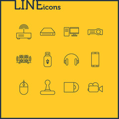Vector Illustration Of 12 Technology Icons. Editable Pack Of Usb Card, Camcorder, Game Controller And Other Elements.