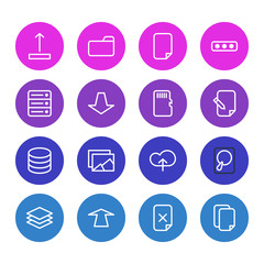 Vector Illustration Of 16 Memory Icons. Editable Pack Of Documents, Agreement, Layer And Other Elements.
