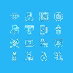 Vector Illustration Of 16 Data Icons. Editable Pack Of Key Collection, Safety Key, Account Data And Other Elements.