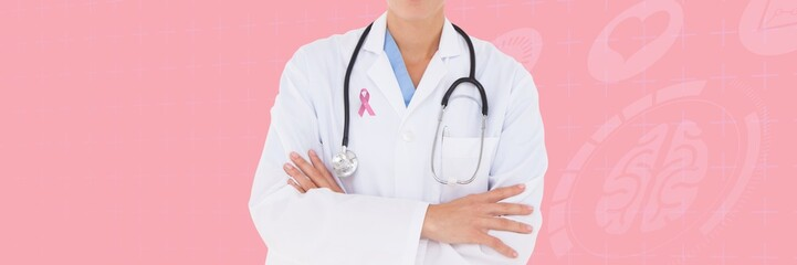 Doctor with breast cancer awareness ribbon