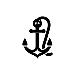Anchor icon simple flat style illustration sign