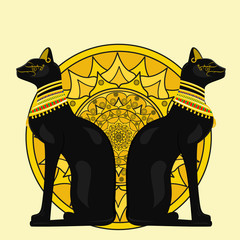 Two Egyptian cats in the background of a yellow circle