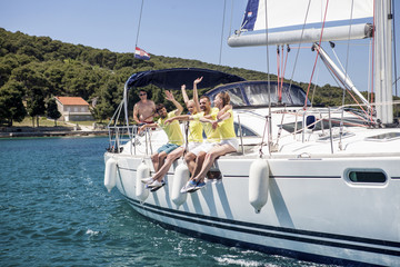 Group of friends together on sailboat, Adriatic Sea