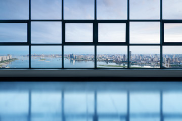 Obraz blank studio with cityscape background - fototapety do salonu