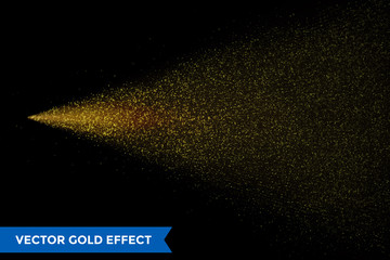 Light particles dispersion of gold glitter spray on vector black background