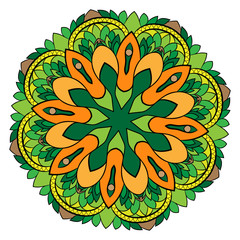 Colored mandala. Symmetrical pattern in a circle. Beautiful illustration for scrapbook. The template for printing on fabric. Picture for relaxation.