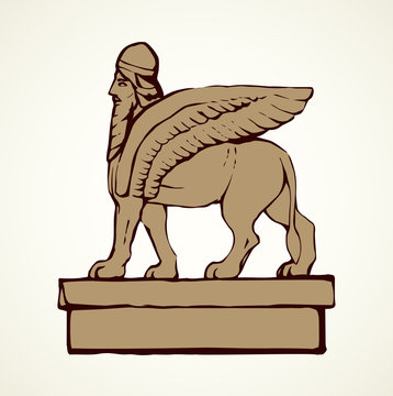 Ancient griffin. Vector drawing