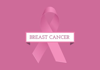 Breast cancer text and pink ribbon