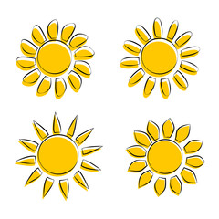 Four Different Sun Icons on White Background Vector Illustration