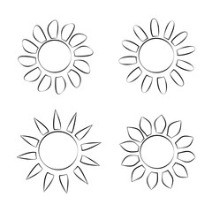 Four Different Black Silhouette Icons of Sun on White Background Vector Illustration