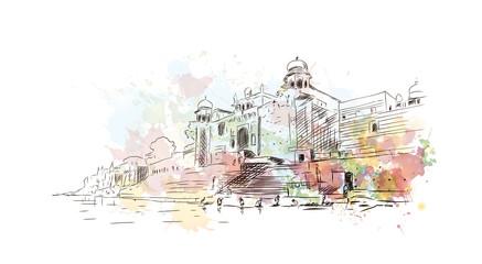 Watercolor sketch of Ganga Ghat Varanasi India in vector illustration.