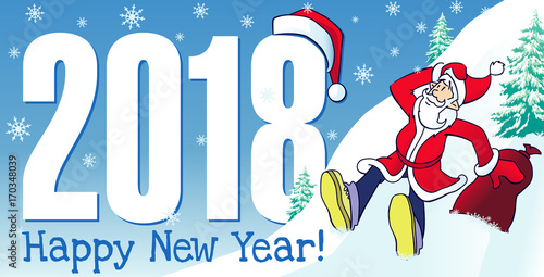 santa on red motor bike new year card merry christmas and happy new year santa claus ride the motorcycle and deer stock image and royalty free vector