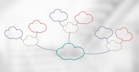 Keuken foto achterwand Trappen Colorful mind map clouds over bright background