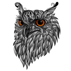 Beautiful gray vector owl from patterns