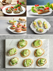 Collage of different snacks with cucumber