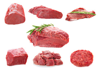 Foto op Aluminium Vlees Collage of fresh meat on white background