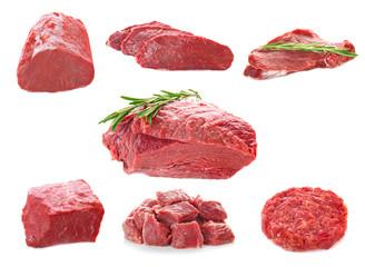 Foto auf Leinwand Fleisch Collage of fresh meat on white background