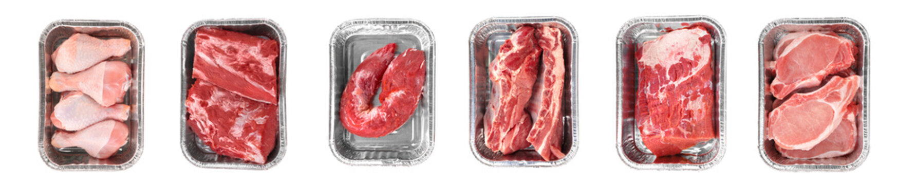 Collage of fresh meat on white background