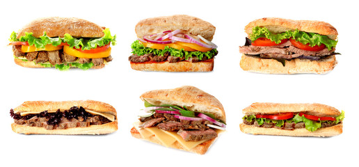 Foto op Canvas Snack Delicious sandwiches on white background