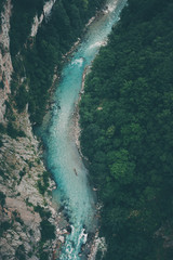 Aerial photography of beautiful mountain river canyon