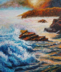 Original oil painting on canvas - Seascape - Sea Counter Light - Impressionism - Modern Art