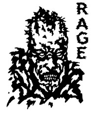 Rage zombie face poster. Isolated vector illustration.