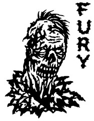 Fury zombie. Vector illustration. Black and white colors.