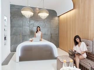Reception of elegant salon