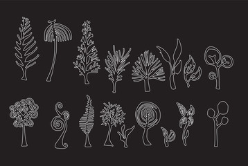 Set of tree doodles vector line on chalkboard eps10