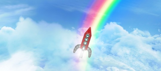 Composite image of red space ship toy